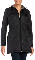 Weatherproof City Walker Diamond Quilted With Faux Fur Collar Coat