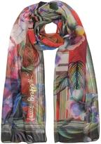 Laura Biagiotti Purple Tropical Printed Chiffon Silk Stole