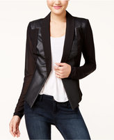 Material Girl Juniors' Faux-Leather Ilusion-Sleeve Blazer, Only at Macy's