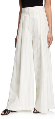 Brunello Cucinelli Pinstripe Stretch Cotton Poplin Pleated Volume Trousers
