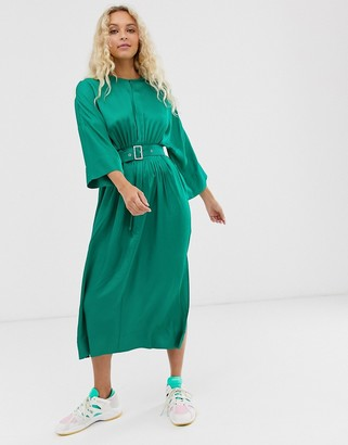 InWear Hattie sateen midi dress-Green
