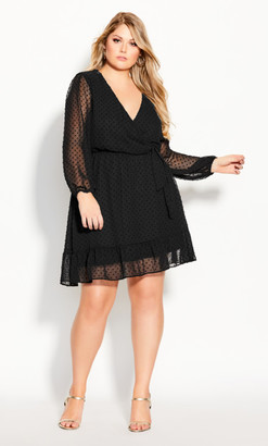 City Chic Dobby Ruffles Dress - black