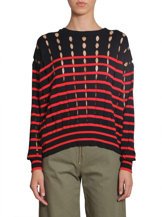 Alexander Wang Striped Cotton Pullover With Slits
