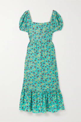 HVN Fromer Printed Silk Crepe De Chine Midi Dress - Teal