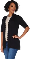 Isaac Mizrahi Live! Open Front Elbow Sleeve Scallop Cardigan