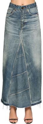 Saint Laurent Cotton Denim Long Skirt