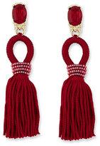 Oscar de la Renta Short Silk Tassel Drop Earrings