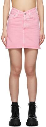 Balenciaga Pink Denim V-Neck Miniskirt