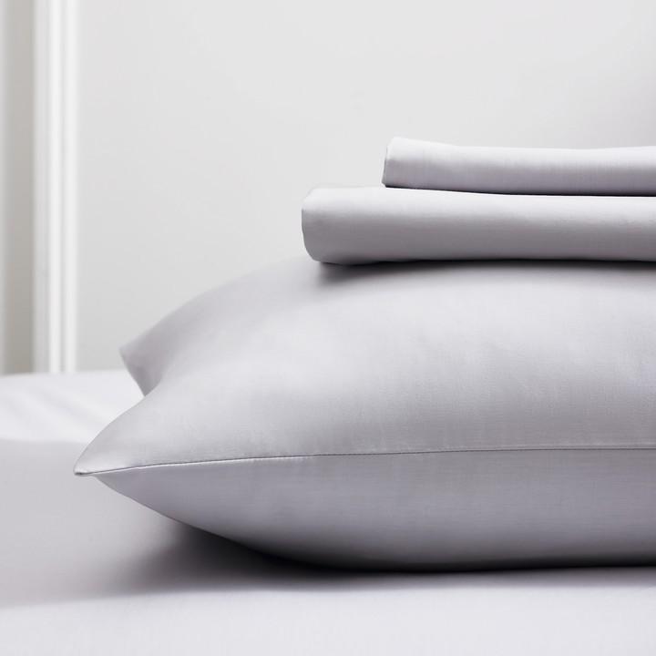 The White Company Egyptian Cotton Flat Sheet, Silver, Single