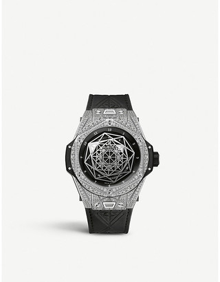 Hublot 415.NX.1112.VR.1704.MXM17 Big Bang Sang Bleu diamond, titanium and leather watch