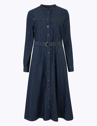 Marks and Spencer Denim Belted Shirt Midi Dress