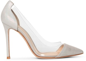 Gianvito Rossi Plexi silver oil suede pumps