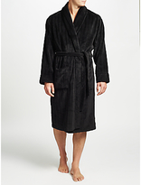 John Lewis Embossed Stripe Fleece Robe, Black
