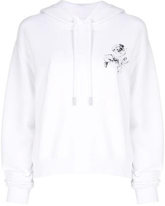 Off-White rose motif printed hoodie