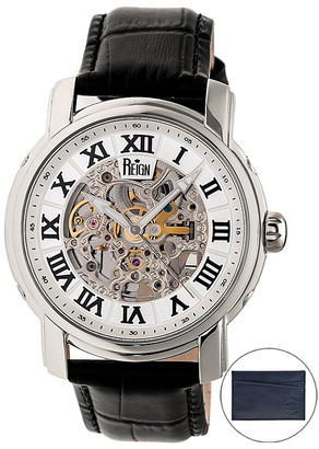 Reign Men's Watches Silver - Stainless Steel Kahn Leather-Strap Automatic Skeleton Watch - Gift With Purchase