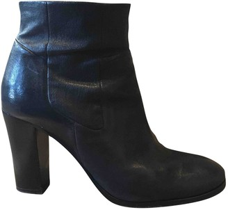 STOULS Navy Leather Ankle boots