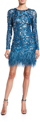 Jenny Packham Sequin-Embroidered Feather-Hem Cocktail Dress