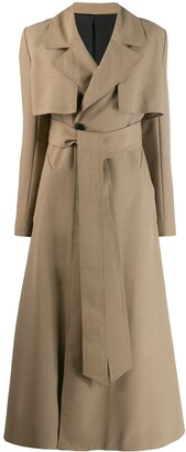 Ami Large Collar Belted Trench Coat