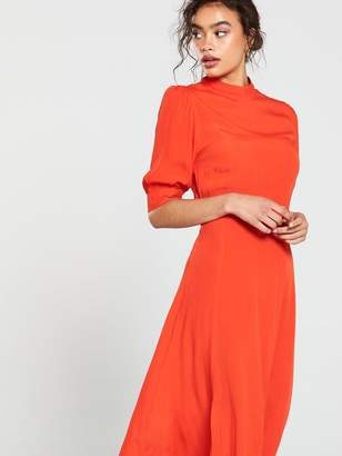 Very Balloon SleeveMidi Dress - Red