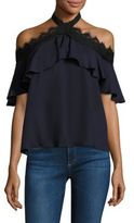 Alice + Olivia Alyssa Off-The-Shoulder Halter Top