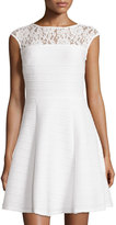 Taylor Cap-Sleeve Lace-Yoke Dress, White
