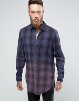 Asos Oversized Check Shirt In Super Longline With Dip Dye