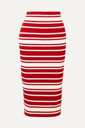 Prada Striped Ribbed-knit Midi Skirt - Red