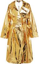 Pushbutton Metallic Crinkled-vinyl Trench Coat