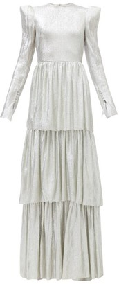 The Vampire's Wife The Unrequited Tiered Wool-blend Lame Dress - Silver