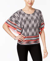 JM Collection Geo-Print Butterfly-Sleeve Top, Created for Macy's