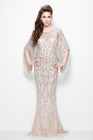 Primavera Couture - Luxurious Sequined Long Sheath Gown with Flared Sleeves 9713