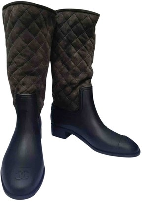 Chanel Brown Rubber Boots