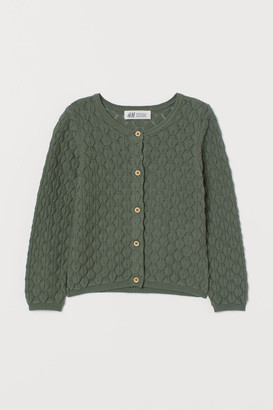 H&M Textured-knit Cardigan - Green