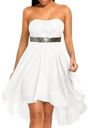 Wanshop Women's Strapless Off Shoulder Lace Wedding Dress Casual Mini Beach Dresses (XL