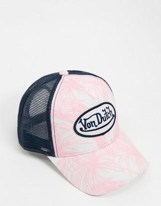 Von Dutch palm print logo cap