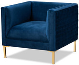 Baxton Studio Luke Glam and Luxe Navy Blue Velvet Fabric Upholstered Gold Armchair