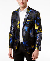 Tallia Slim-Fit Blue and Yellow Floral Dinner Jacket