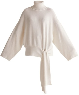 Oversized Roll Neck Jumper With Wrap Tie Waist In White