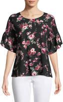 West Kei Smocked-Sleeve Floral Blouse