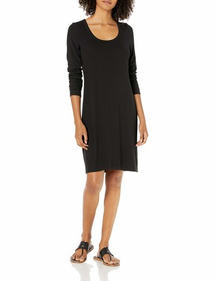 Daily Ritual Amazon Brand Women's Rayon Spandex Fine Rib Long-Sleeve Scoop Neck Dress