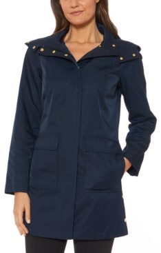 Jones New York Hooded Snap-Collar Water-Resistant Raincoat