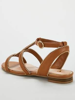 Very Hapur Stud Trim Flat Sandals - Tan