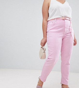 Asos DESIGN Curve Farleigh high waisted slim mom jeans in washed pink with belt