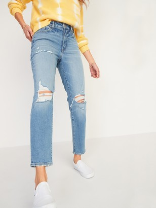Old Navy High-Waisted O.G. Straight Light-Wash Ripped Jeans for Women