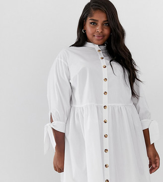 Asos DESIGN Curve grandad collar button through mini smock dress with tie sleeve