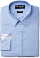 Nick Graham Men's Solid Cotton Poplin Dress Shirt- Slim Fit- Point Collar