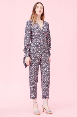 Rebecca Taylor Twlight Bloom Silk Twill Jumpsuit