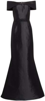Teri Jon By Rickie Freeman Off-The-Shoulder Embellished Belt Gown