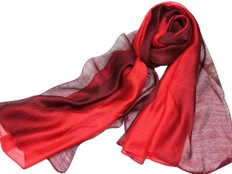 Pb Soar PB-SOAR Lightweight Silk Scarf Gradient Color Long Scarf Shawl Stole Wrap for Women 14 Colors Available (Brown/Beige)