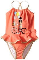 Little Marc Jacobs Ms. Marc Graphic Swimsuit with Ruffle Girl's Swimsuits One Piece
